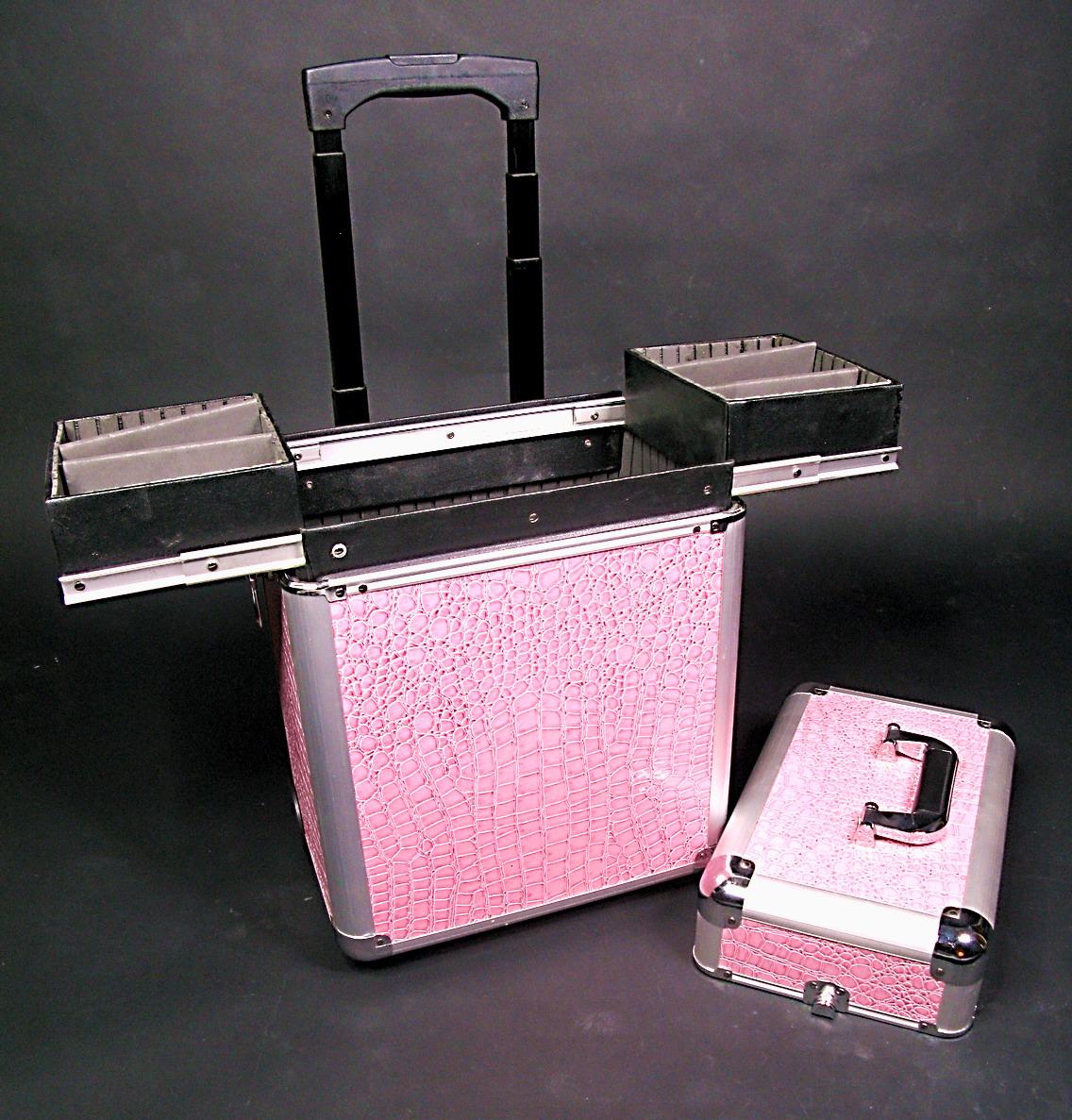 maletin de maquillaje con cajones laterales y ruedas